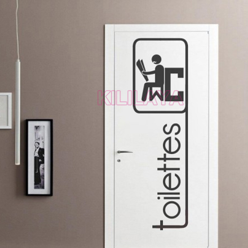 funny french toilettes stickers for toilet wc door vinyl. Black Bedroom Furniture Sets. Home Design Ideas
