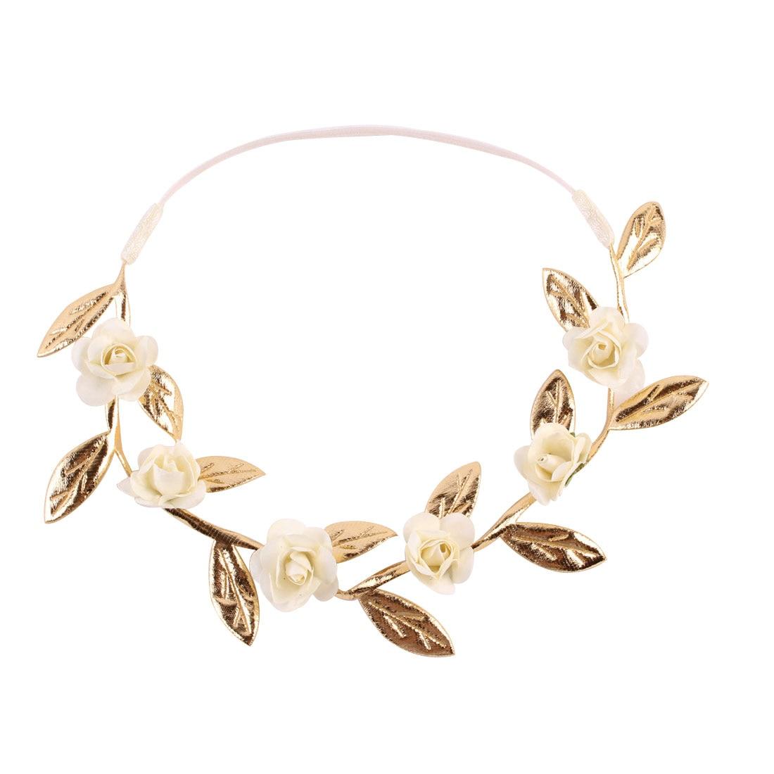 Baby Girl Kids Garlands Crown Headband  Gold Leaves Hair Band Rose Flower Wreath