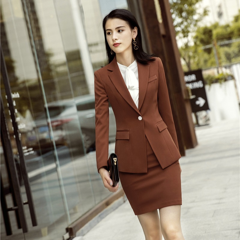 Ladies Fashion Caramel Jackets Coat And Skirt For Women Business Work Wear Blazers Sets Professional Uniform Styles