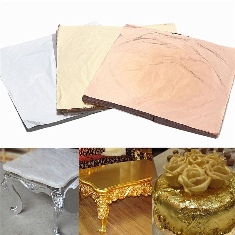 100 Sheets Gold Silver Copper Leaf Foil Paper Gilding Art Craft Decorative Material Gold Silver Copper 3 Colors 14x14cm