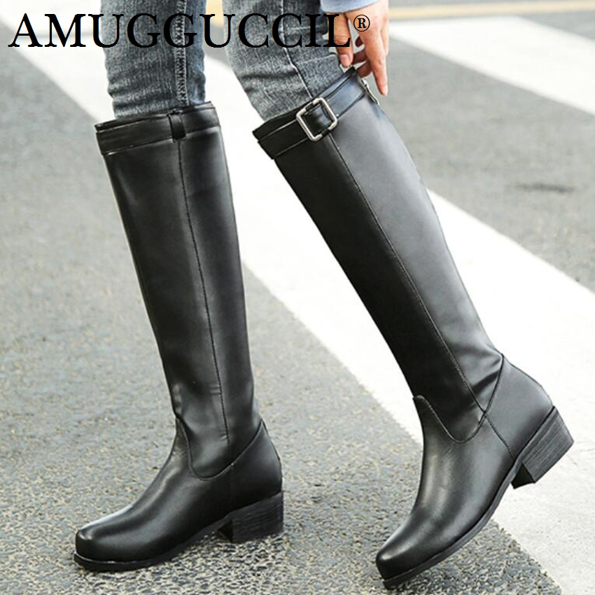 2018 New Arrival Plus Big Size 33-46 Black Brown Buckle Zip Knee High Winter Autumn Girl Ladies Females Womens Boots X1743 2017 new plus big size 33 44 black beige brown buckle zip knee high autumn girl lady females warm winter womens boots x1663