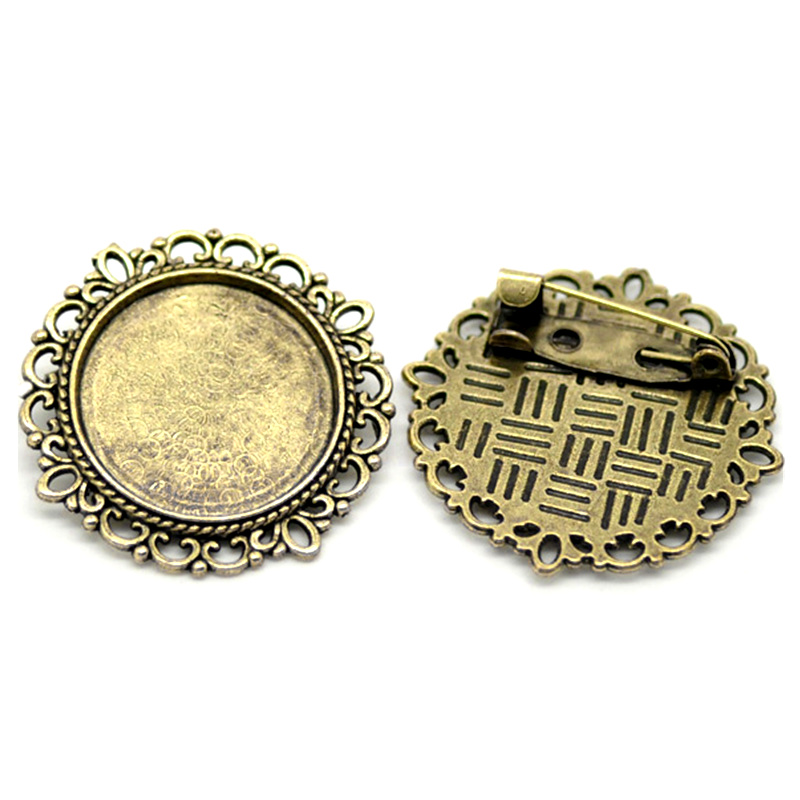 20Pcs Bronze Tone Round Brooches Back Pin Cabochon Frame Setting 32mm Fit Cameo 20mm