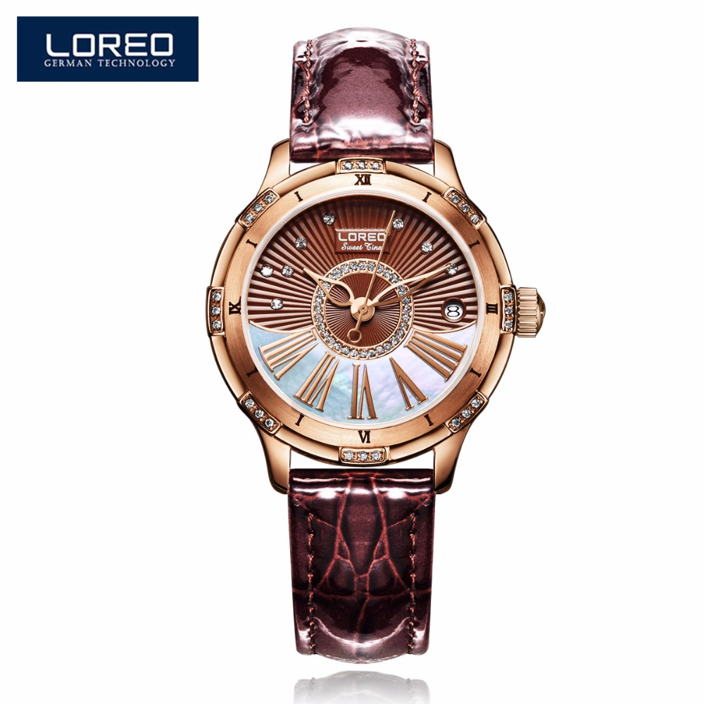 LOREO Rose Gold Female Clock Luxury Leather Strap Automatic Self-Wind Mechanical Wristwatches Ladies Waterproof Watch AB2067 royal carving ks rose gold skeleton automatic self wind wristwatch male fashion clock leather strap mechanical watch gift ks294