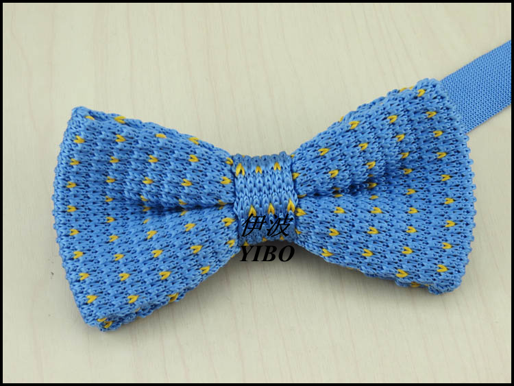 Sky blue yellow dot pattern knitted bowtie Double fabric high quality boutique men bowknot