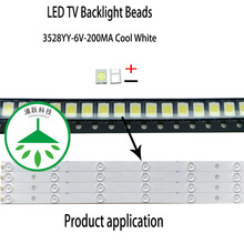 YONGYUEKEJI new led smd 3528 6v 200ma 1w lamp beads cool white for repair led lcd backlight bar hot new led backlight bar strip for konka kdl48jt618a kdl48jt618u kdl48ss618u 35018539 35018540 6 leds 6v 442mm