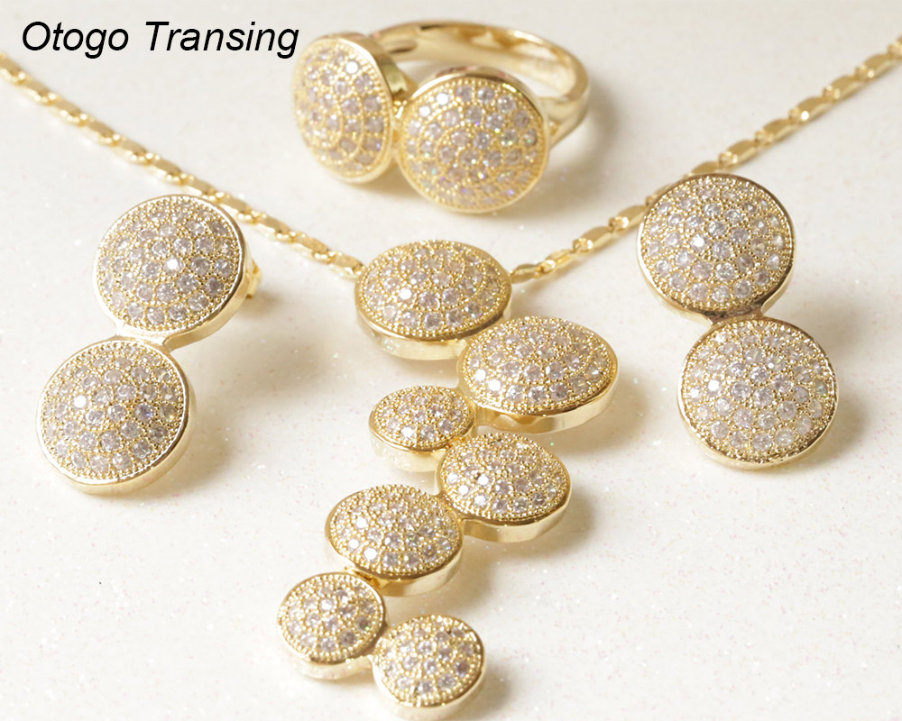 Otogo Transing 2019 Party Yellow Gold Design Flower Jewelry Set Women Fashion Colorful Crystal Ring Earrings