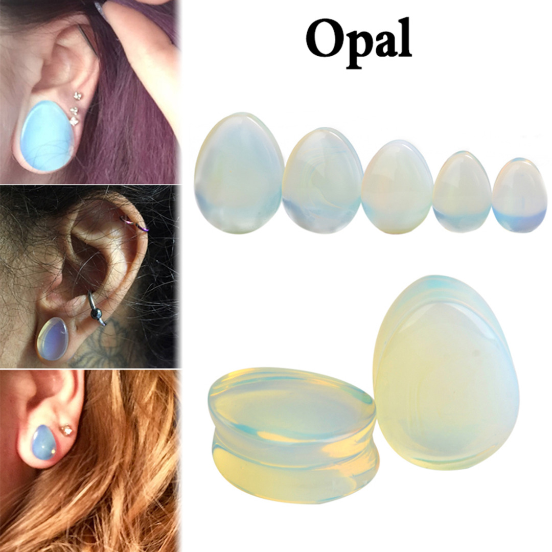 1 Pair Natural Stone Teardrop Ear Plugs Tunnel Shellhard Gauges Ear Expander Stretcher Fashion Body Pircings Jewelry