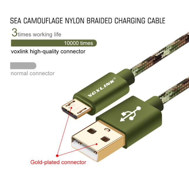 VOXLINK Nylon 1m/2m/3m Micro USB Cable Type C 8 Pin Fast Charging USB Cable For iPhone 7 6s 5s Samsung Huawei HTC Sony Xiaomi