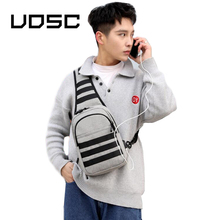 UOSC Waterproof Usb Charge Messenger Bag Pack 2019 Male Sling Chest Bag Small Crossbody Bags For Men Casual Travel Shoulder Bag