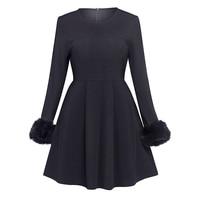 Sisjuly Vintage Dresses 1950s Autumn Fashion A Line Full Sleeve Black O Neck Elegant Beautiful Female