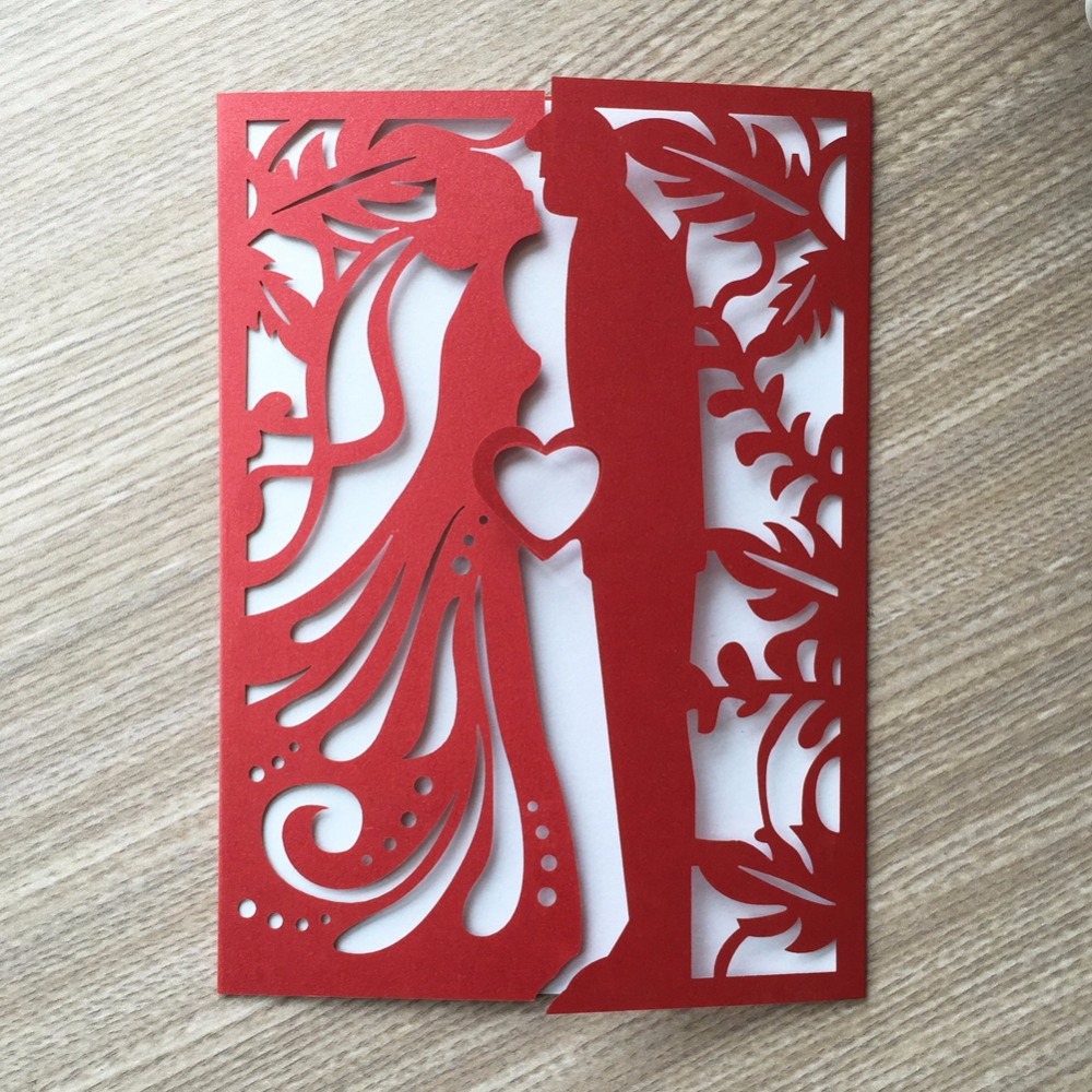 12pcs Chinese Red Laser Cut Wedding Invitations Card Post Greeting ...