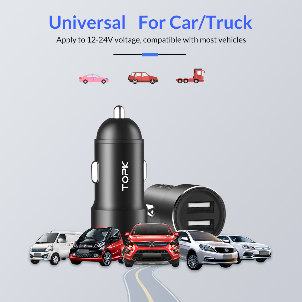 TOPK G207 Dual USB Car Charger 2.4A for iPhone Xiaomi redmi Note 7 Mi 9 Samsung S10 Car-Charger Mobile Phone Charger in car