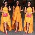 Nigéria longo vestido de noite alta baixo orange africano vestidos de noite 2017 barato elegante mulheres de manga curta vestido de baile custom made