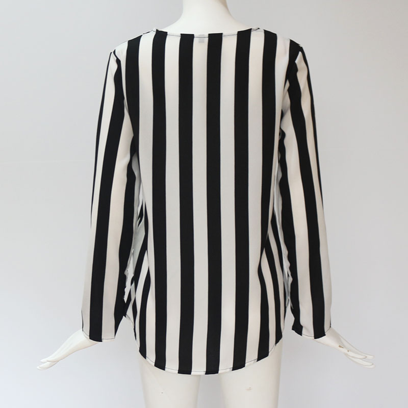 Women Striped Blouse Shirt Long Sleeve Blouse V-neck Shirts Casual Tops Blouse 60