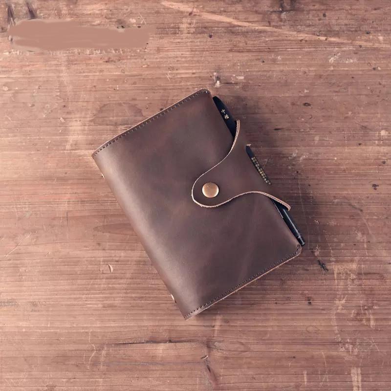 Travelers DIY Notebook Vintage A7 Genuine Leather Diary Mini Planner Notepad Cowhide Diary Spiral Loose Leaf Journal BJB11