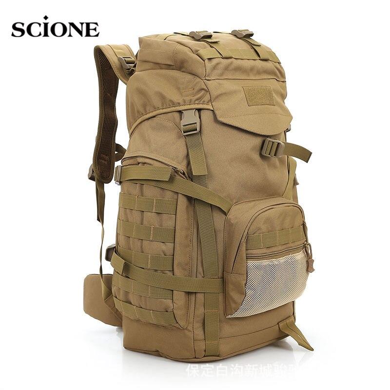 Molle 60L Camping sac à dos tactique sac à dos militaire grands sacs à dos imperméables Camouflage randonnée sacs d'armée en plein air XA281WA