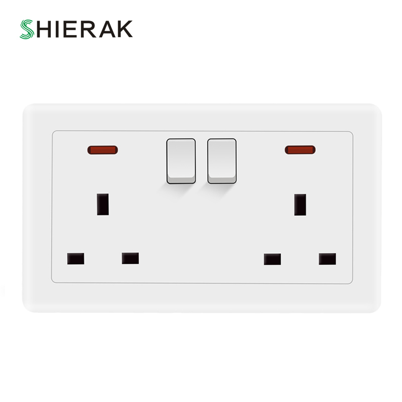 SHIERAK 13A/250V UK Double Socket with Button Light Switch Retro Pure White Plastic Panel British Standard Wall Socket Plug british mk british unit power supply socket metal 13a power outlet british standard unit socket