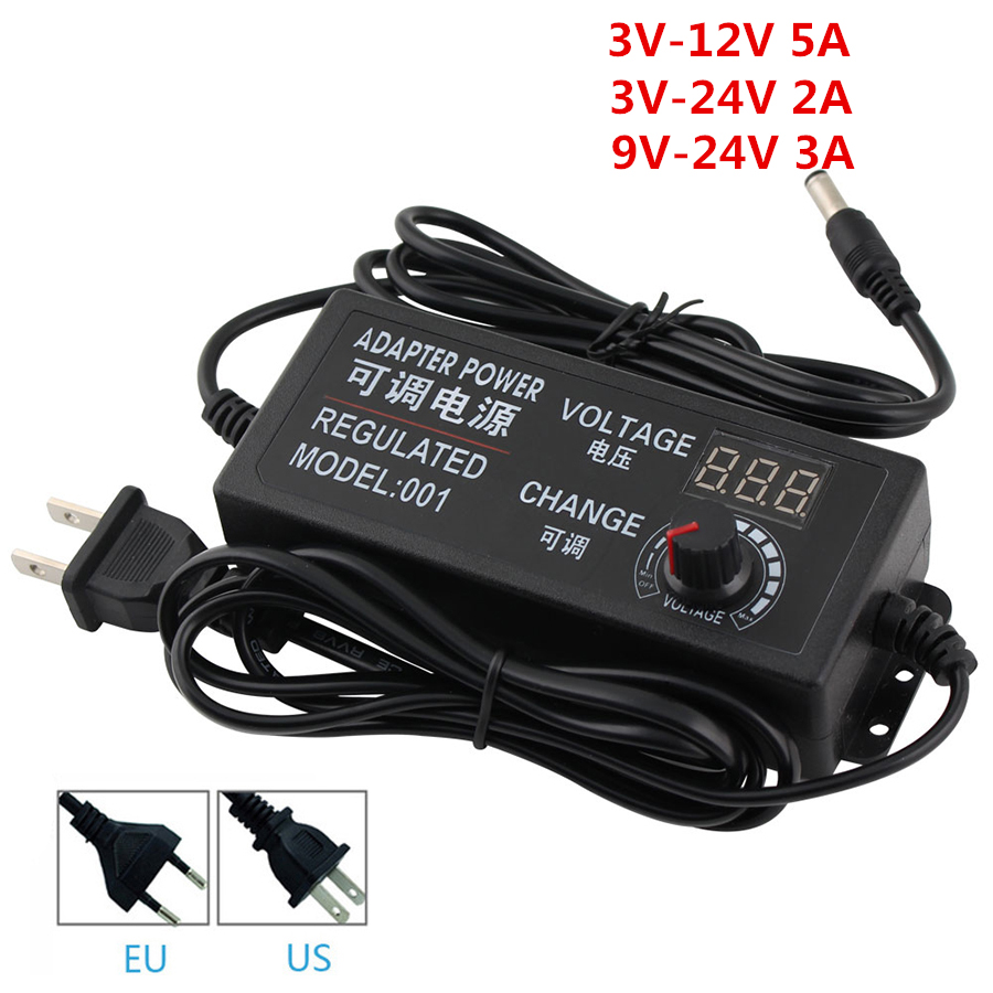Ajustable AC a DC 3 V-12 V 3 V-24 V 9 V-24 V Universal adaptador con pantalla de visualización voltaje de alimentación regulada adatpor 3 12 24 v