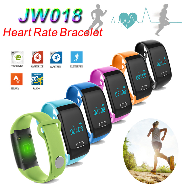 DHL 20PCS Heart Rate JW018 Smart Bracelet Watch Bluetooth Band Bangle Heart Rate Activity Fitness Tracker Wristband Smartwatch