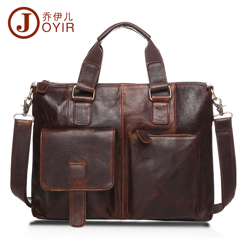 JOYIR Laptop Bag Genuine Leather Men Handbags 6 colors Business Briefcase Casual Messenger Bags Shoulder Crossbody Bag Bao bao men genuine leather bag messenger bag man crossbody large shoulder bag business tote briefcase brand handbags laptop briefcase