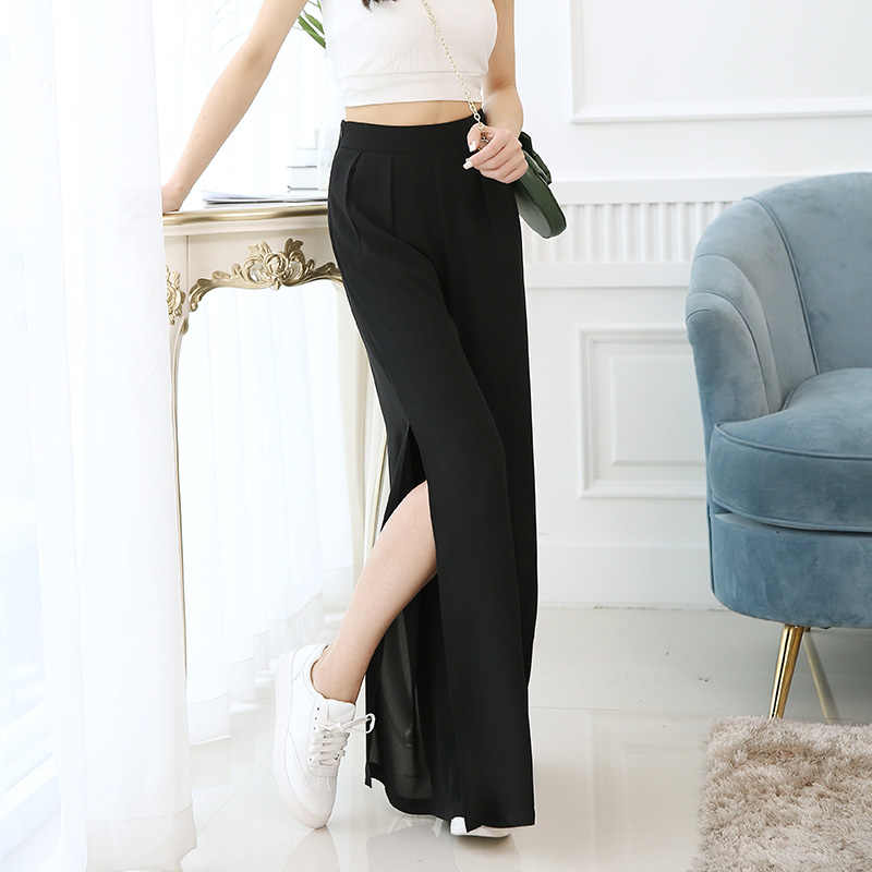 WKOUD femmes pantalons à jambes larges noir solide en mousseline de soie pantalon lâche côté fendu taille haute pantalon femme pleine longueur été pantalon P8383
