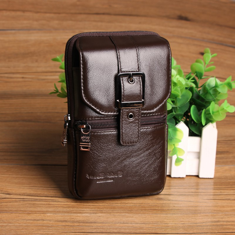 Men Genuine Leather Shoulder Waist Bags Fanny Belt Packs Casual Crossbody Bags