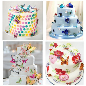 Image 3 - 42Pcs Mixed Butterfly Edible Glutinous Wafer Rice Paper butterfly Cake Cupcake Toppers Birthday Wedding party Cake Decoration