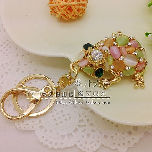 Hot Sale Colorful Opal Beads Frog Animal Bag Hanger Keychain Keyring Accessory for Women Novelty Christmas Gifts