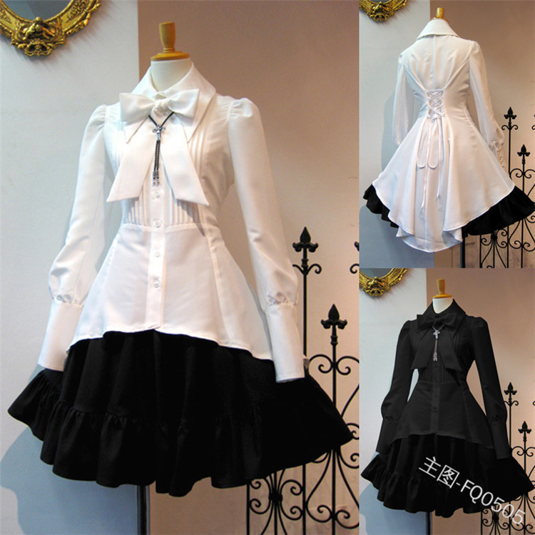 Sweet Lolita Dress Women's Fashion Bow Collar Long Sleeve Vintage Dress with Ruffles No Necklace Casual Shirt Patchwork Cute A l