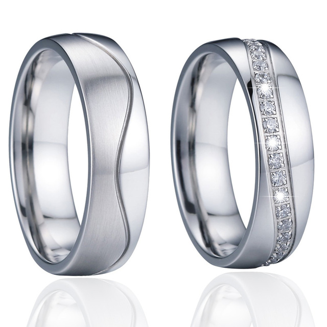 Anniversary wedding band women's ring set men's ring Unique silver color lady's infinity eternity cubic zirconia couple rings