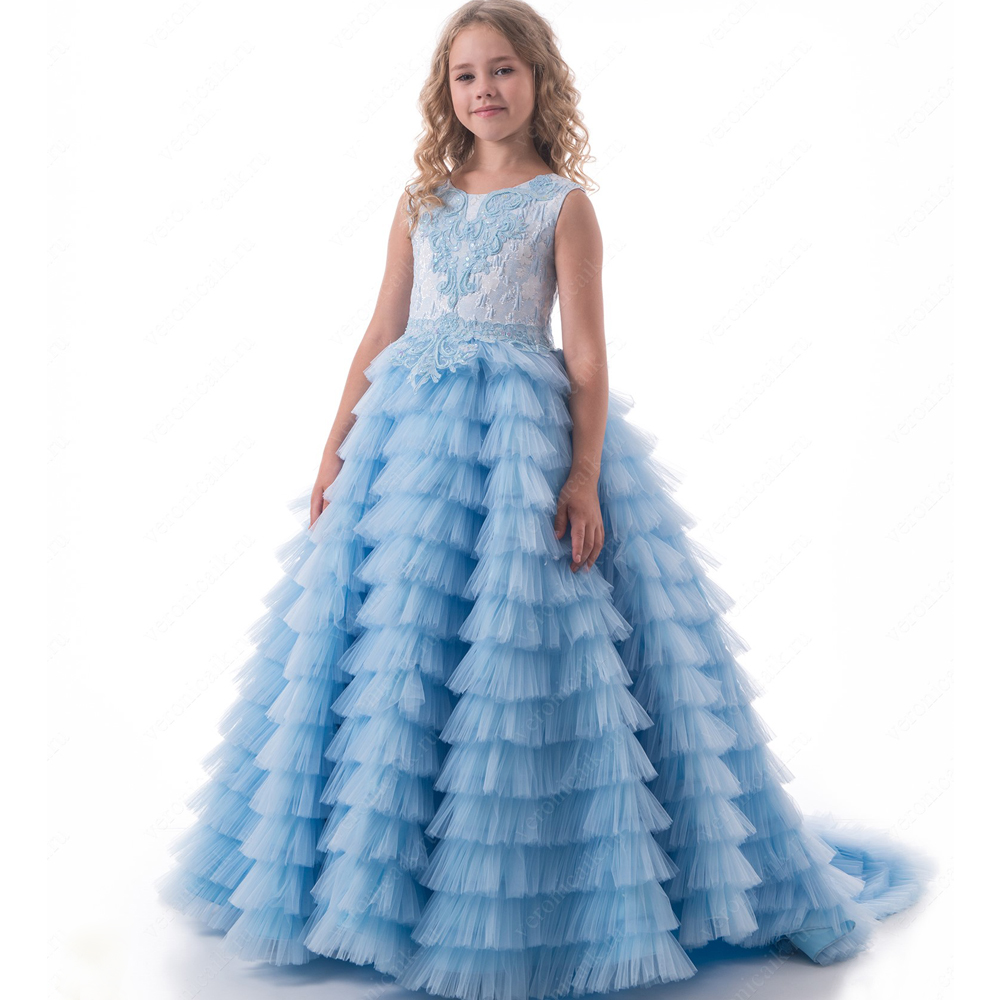 2017 New Flower Girls Dress For Weddings Blue O-neck Sleeveless Ball Gown Appliques Formal Communion Gown Vestidos Longo Custom2017 New Flower Girls Dress For Weddings Blue O-neck Sleeveless Ball Gown Appliques Formal Communion Gown Vestidos Longo Custom