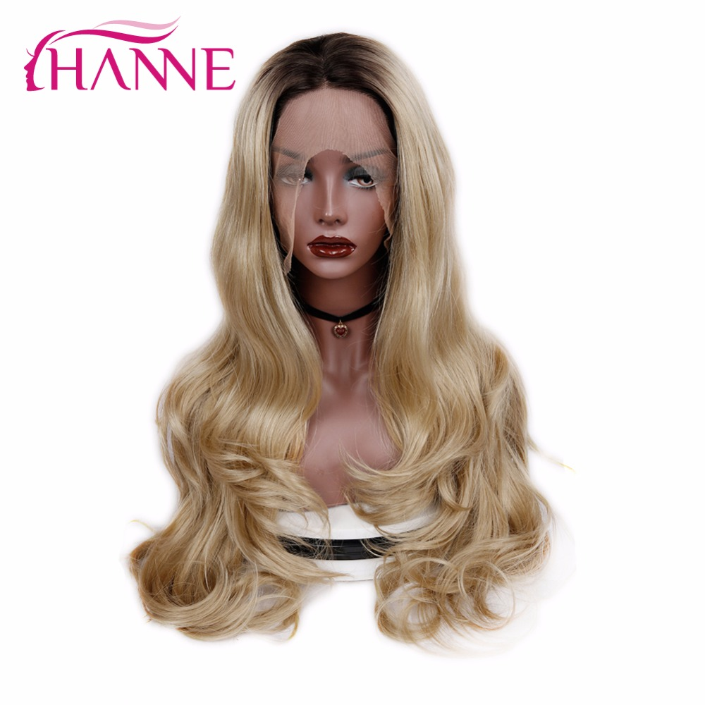 HANNE lace Front Synthetic Wigs for Black Women Ombre Brown Blonde Long Wavy Wig
