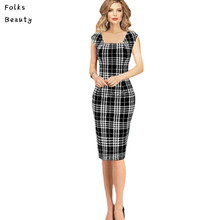 Plus Size Pencil Sheath Dress 2016 New Sale Womens Summer Elegant Tartan Square Neck Tunic Wear To Work Business Casual