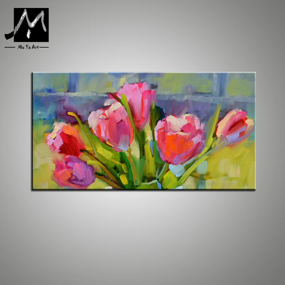 Wall art flower painting - Aliexpress Com Buy Flower Painting Pictures Famous Abstract Art Paintings Pink Tulip Knife Oil Painting Wall Art Picture Home Decoration Abstract From