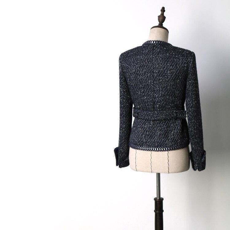 Higth quality tweed jacket spring autumn womens jacket coat classic ladies wild ladies bright wire braided tweed jacket