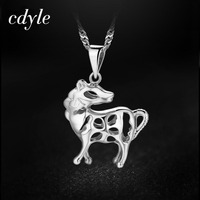 Cdyle Women Pendants Necklaces Fashion Elegant S925 Sterling Silver Jewelry Horse Shape Australian Rhinestone Paved Bijoux