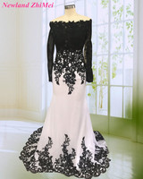 Amazing 2018 Celebrity Dresses Long Sleeve Hot Black Applique White Chiffon Woman Night Party Dress vestido longo de festa
