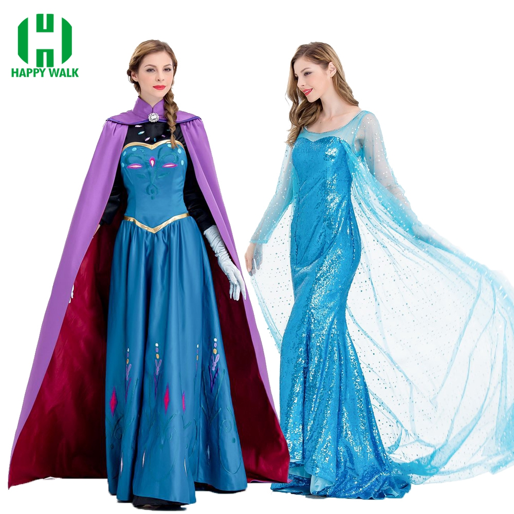 Princess Anna Elsa Princess Dress Queen Anna Costume Adult Snow Grow Princess Elsa Cosplay Costume for Women Halloween Costumes