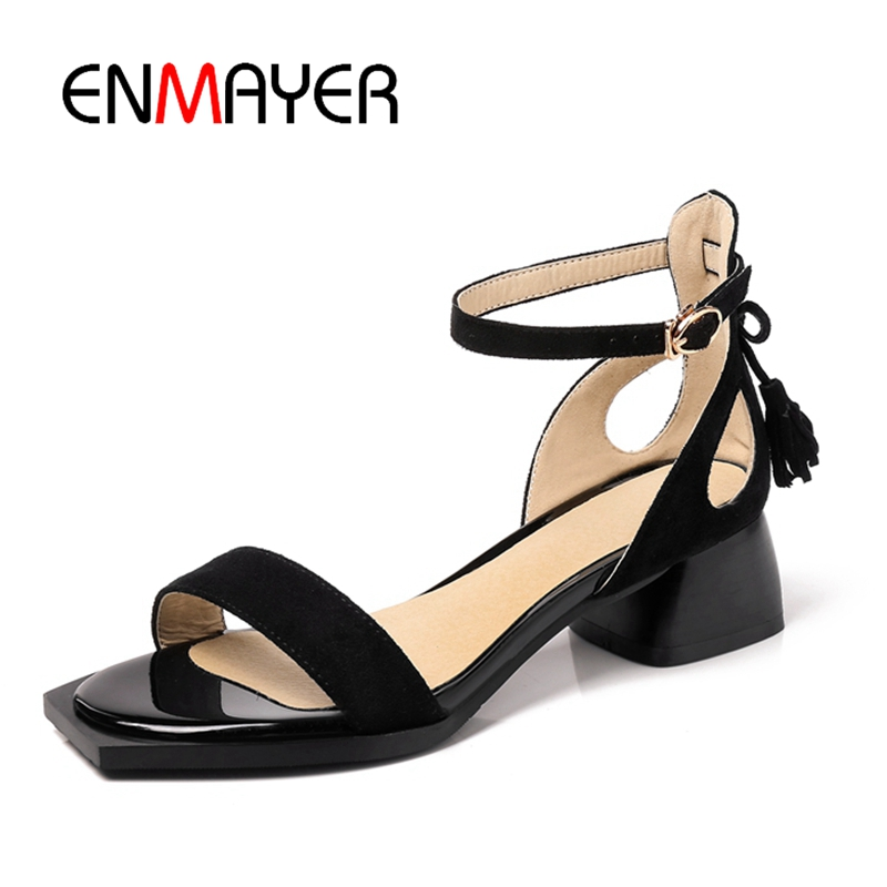 ENMAYER 2018 Fashion Sexy Black Red Ankle Strap Summer Med Heels Sandals for Women Peep Toe Party Shoes Women Causal Shoes CR390