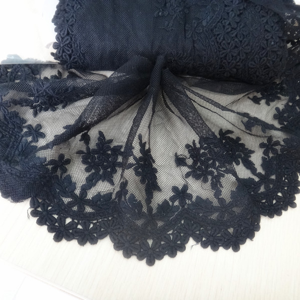 1 yards wholesale freeshipping  Diy accessories clothes material lace decoration black embroidery hydrotropic net flower-13mm