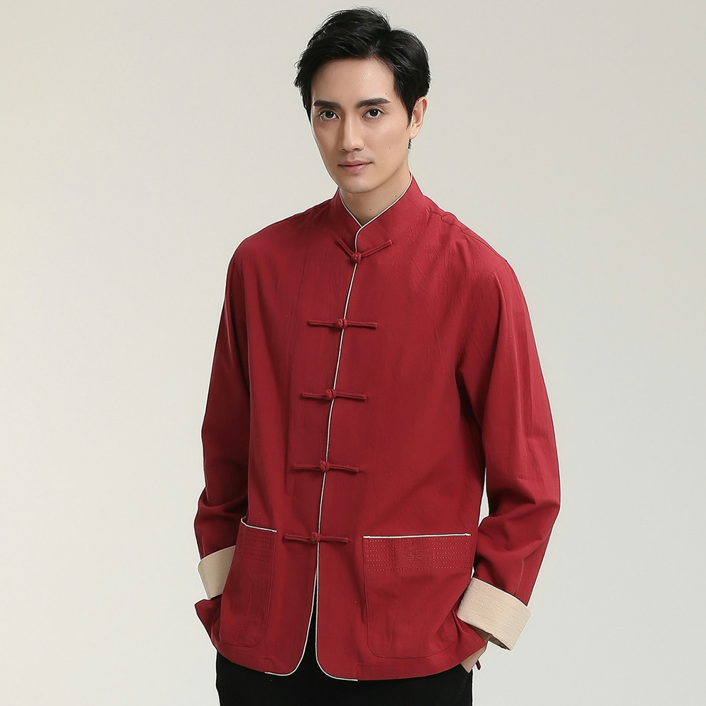 Vintage Red Dress Shirts Men Cotton Linen Shirt Chinese Style Kung Fu Plus Size 3XL Tai Chi Shirts Mandarin Collar Tops 2707-2