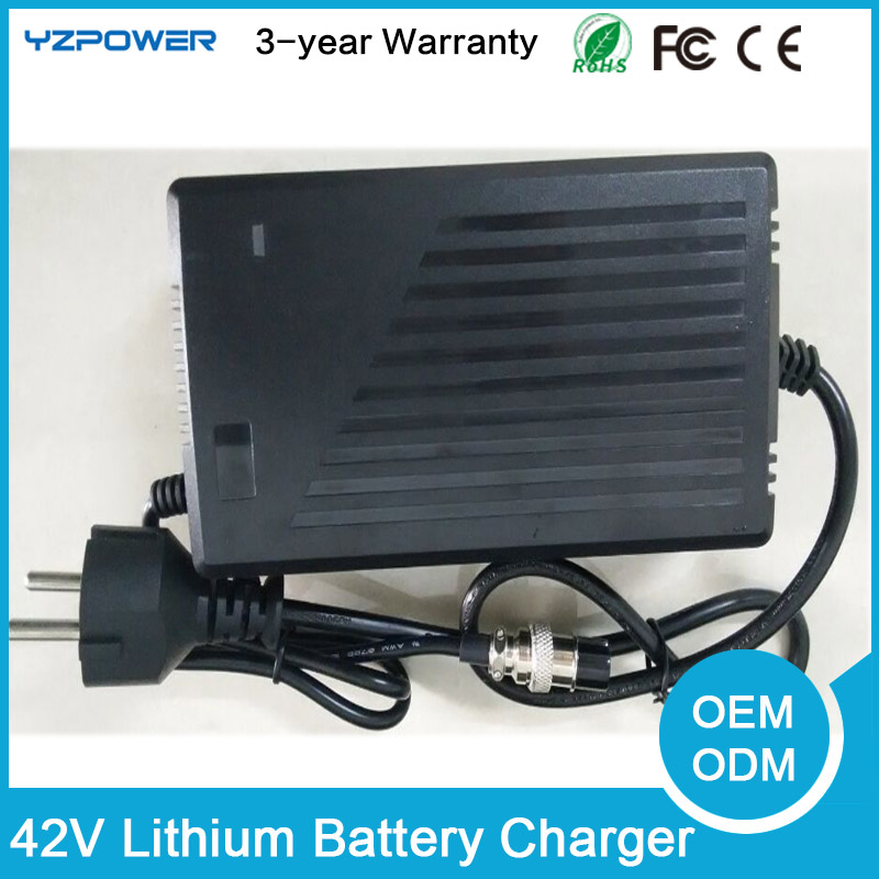 YZPOWER 42V 4A 4.5A 5A Lithium Li-ion Battery Charger For 36V Lipo Bike Power Tool Scooter Battery Pack lithium ion battery pack use for panasonic 2900mah cell bike battery pack 36v 15ah hailong 36v 14 5ah li ion battery 2a charger