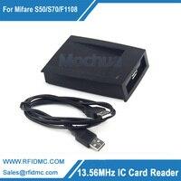 Frete grátis -- 13.56 MHz RFID IC Card Reader Leitor RIFD com cartão de teste