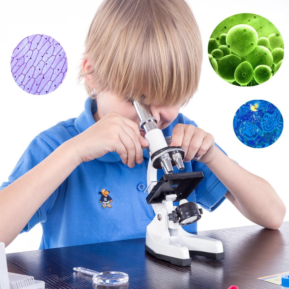 Laboratoire étudiant manipulation 1200 fois Science jouets enfants métal Microscope trousse à outils Set jouets éducatifs pour enfants cadeaux