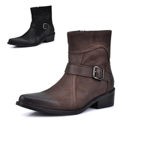 Newest 2017 Winter Boot For Men's Cusal Genuine Leather Plush Warm Snow Fashion Mid-Calf Boots Antiskid Men Winter Leather Boots