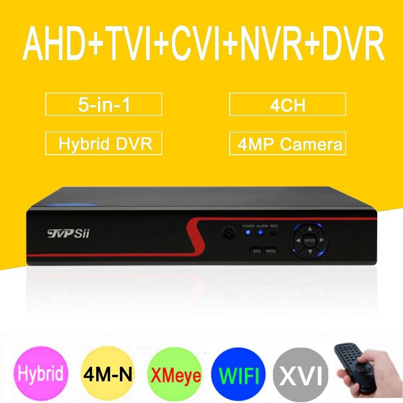 4MP Caméra de Surveillance 4M-N Rouge Panneau Hi3520D XMeye 4CH 6 dans 1 Coaxial Hybride XVI NVR CVI TVI AHD CCTV DVR Livraison gratuite