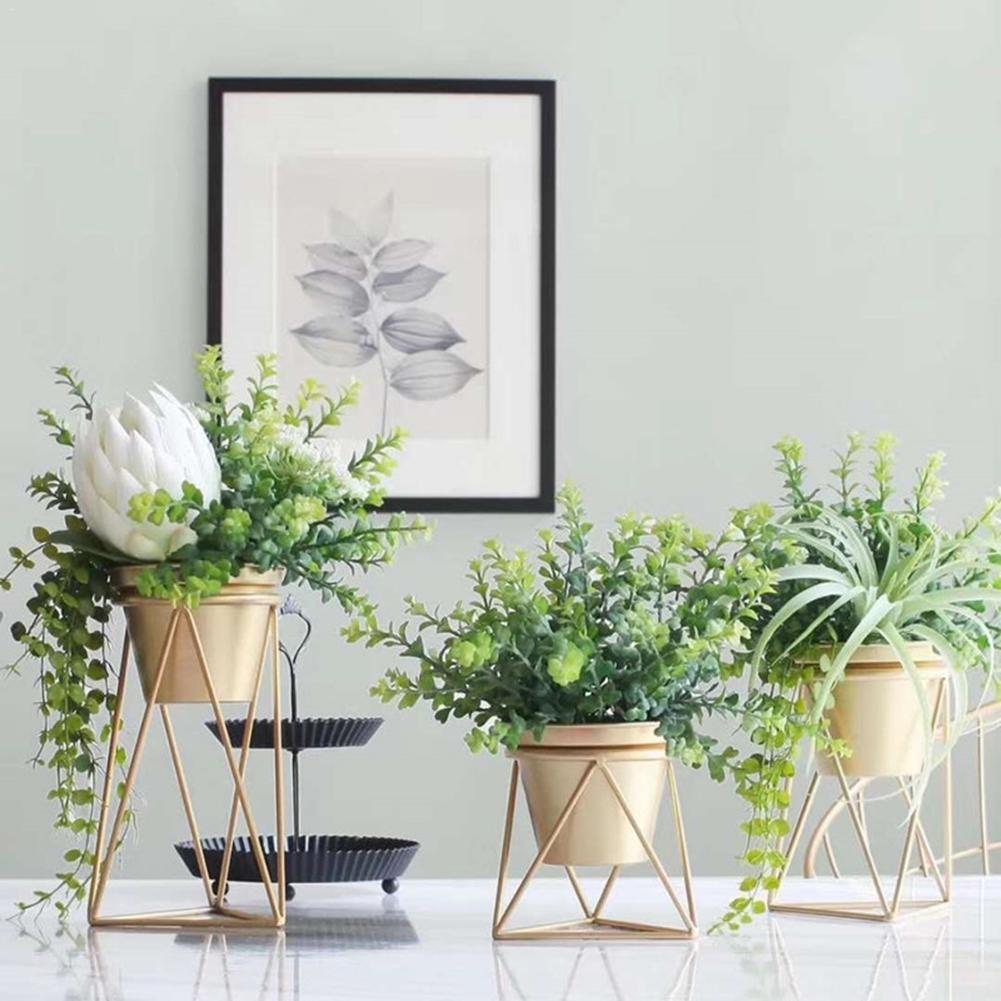 Gold Metal Iron Flower Holder Stand Innovative Home Model House Living Room Table Flower Planter Nice Gift 3 Sizes