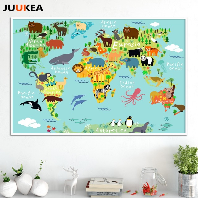 Nordic Children Kawaii Cartoon Animals World Map Canvas Print