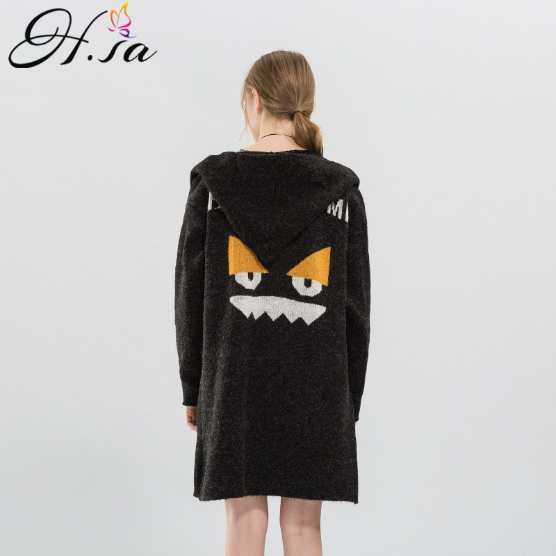 H.SA 2017 Autumn Winter Sweater Cardigans Long Knit Jackets Cartoon Embroidery Long Hooded Cardigans Poncho Female Sweater Coats
