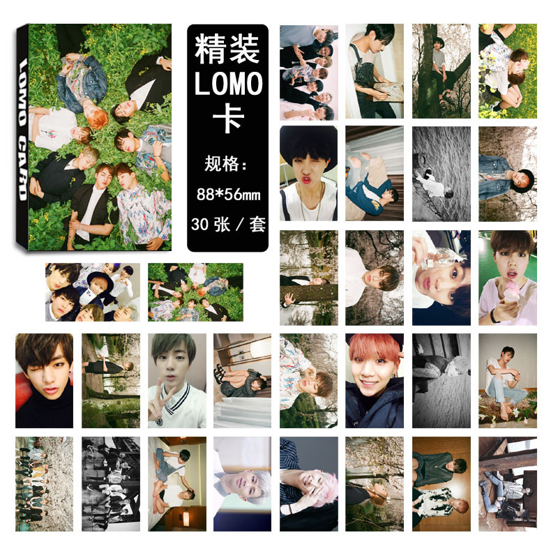[TOOL]BTS bulletproof youth club collective pattern time LOMO card suit a 30 pieces /set Tian Zhengguo #0154 dali rubicon vokal black